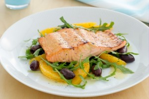 Honey mustard Salmon with olive and orange 1